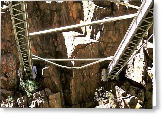 Royal Gorge Bridge Greeting Cards - Royal Gorge Bridge Support Greeting Card by Jeff Gater
