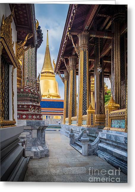 Bangkok Greeting Cards - Royal Grand Palace columns Greeting Card by Inge Johnsson