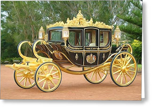 Wooden Wagons Paintings Greeting Cards - Royal horse carriage Greeting Card by Lanjee Chee