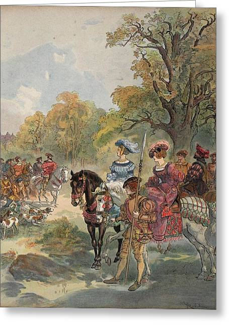 French Renaissance Greeting Cards - Royal Hunt, Illustration From Francois Greeting Card by Albert Robida