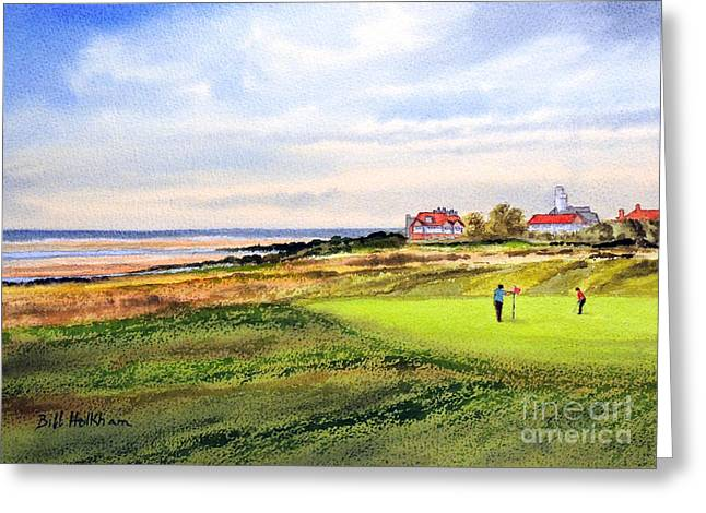 Tiger Woods Greeting Cards - Royal Liverpool Golf Course Hoylake Greeting Card by Bill Holkham