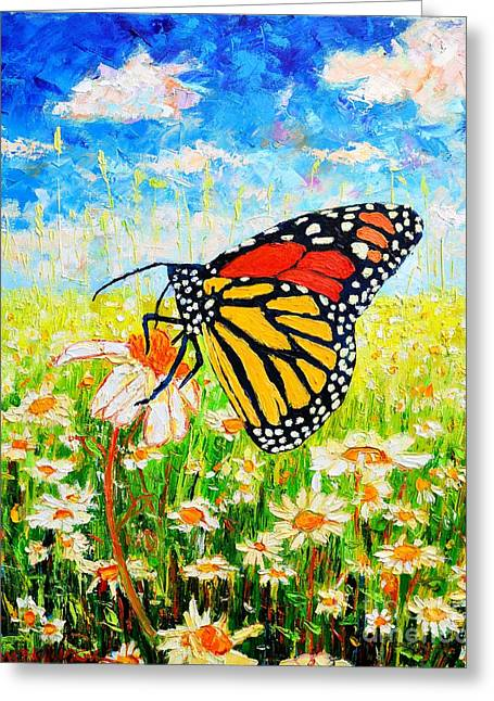Field. Cloud Greeting Cards - Royal Monarch Butterfly In Daisies Greeting Card by Ana Maria Edulescu