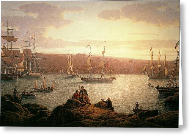 Salmon Paintings Greeting Cards - Royal Naval Vessels off Pembroke Dock Hilford Haven Greeting Card by Robert Salmon