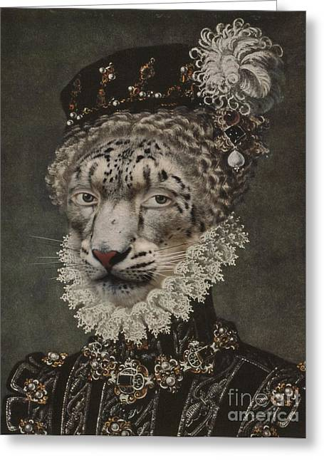 Elegant Cat Picture Greeting Cards - Royal Noble Gepard Human Body Animal Head Portrait Greeting Card by Jolanta Prunskaite