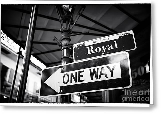 Royal Street Greeting Cards - Royal One Way Greeting Card by John Rizzuto