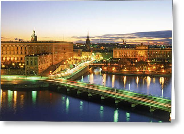 Nobel Prize Greeting Cards - Royal Palace And Parliament Building Greeting Card by Panoramic Images