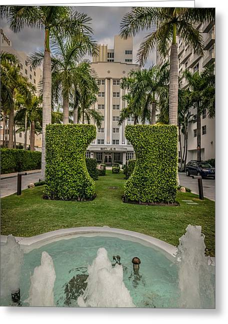 1930s Greeting Cards - Royal Palm Hotel on South Beach Miami - HDR Style Greeting Card by Ian Monk