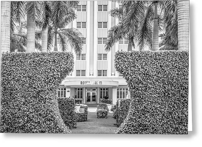 Royal Art Greeting Cards - Royal Palm Hotel on South Beach Miami - Square Crop - Black and White Greeting Card by Ian Monk