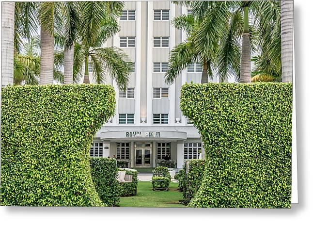 Royal Art Greeting Cards - Royal Palm Hotel on South Beach Miami - Square Crop Greeting Card by Ian Monk