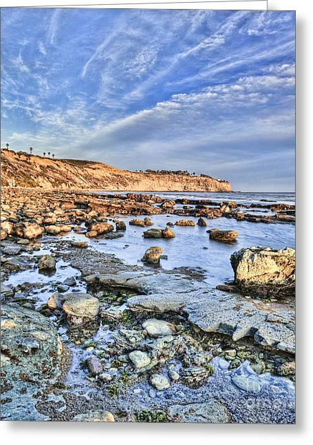 Pacific Ocean Prints Greeting Cards - Royal Palms Rocky Shore Greeting Card by Nick Carlson