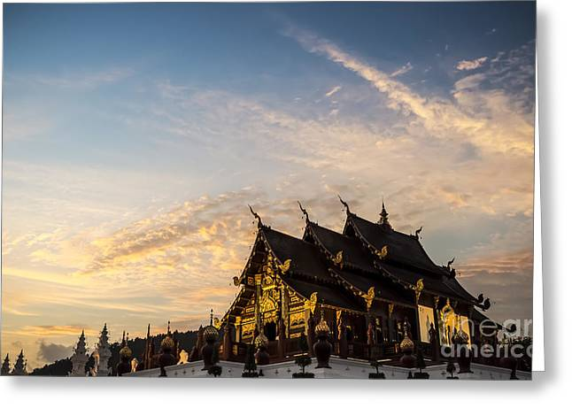 Historical Buildings Photographs Greeting Cards - Royal Park Rajapruek on sunset Greeting Card by Setsiri Silapasuwanchai