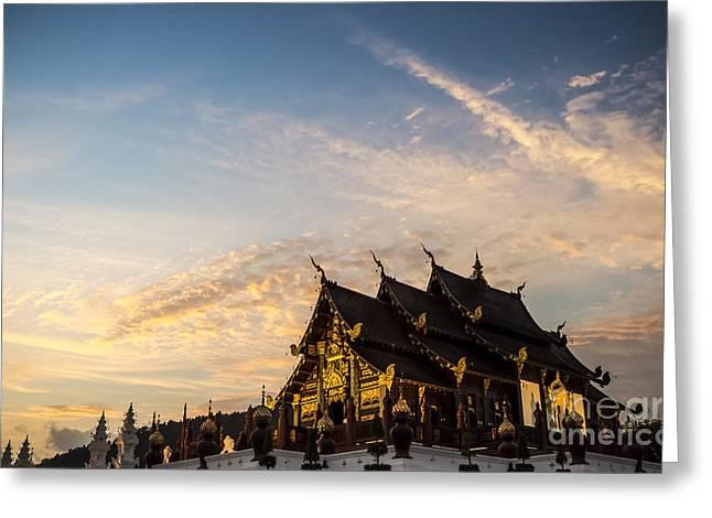 Chiang Greeting Cards - Royal Park Rajapruek on sunset Greeting Card by Setsiri Silapasuwanchai