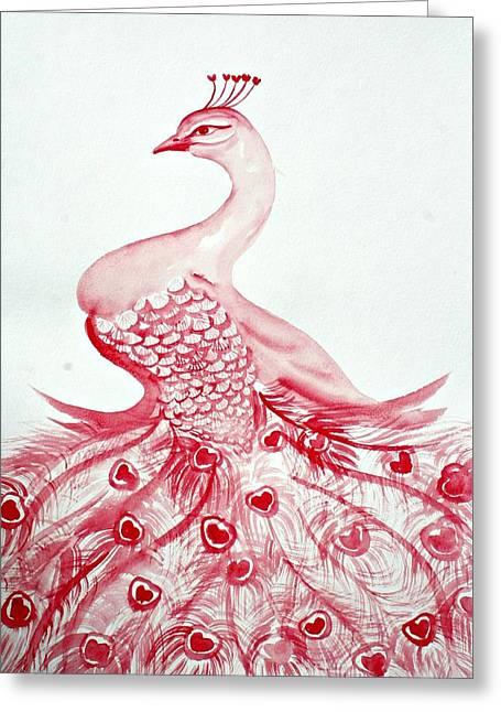 Mother Gift Pastels Greeting Cards - Royal Peacock  Greeting Card by Alma Yamazaki