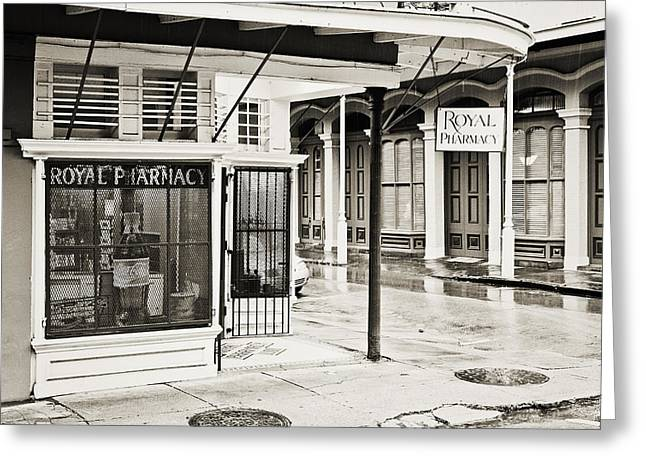 Drug Stores Greeting Cards - Royal Pharmacy Greeting Card by Scott Pellegrin