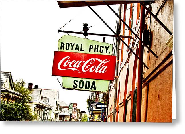 Royal Street Greeting Cards - Royal Pharmacy Soda Sign Greeting Card by Scott Pellegrin