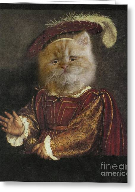 Elegant Cat Picture Greeting Cards - Royal Prince Kitty Human Body Animal Head Portrait Greeting Card by Jolanta Prunskaite