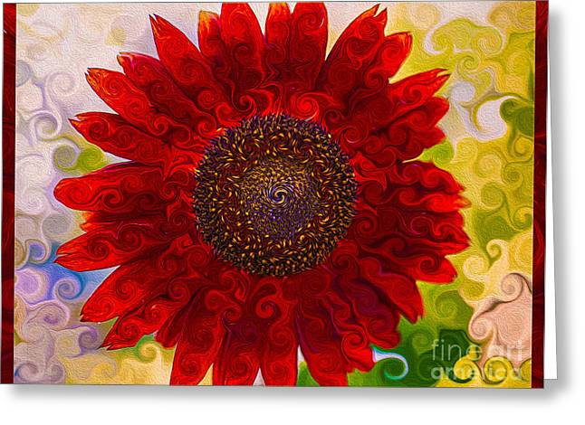 Owfotografik Greeting Cards - Royal Red Sunflower Greeting Card by Omaste Witkowski