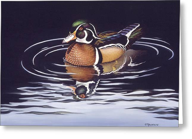 Water Fowl Greeting Cards - Royal Reflections Greeting Card by Richard De Wolfe