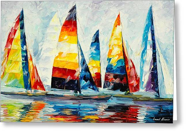 Royal Art Paintings Greeting Cards - Royal Regatta Greeting Card by Leonid Afremov