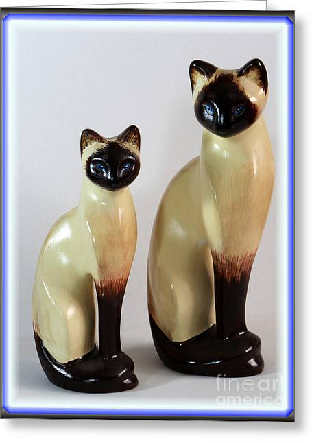 Best Sellers -  - Ceramic Ceramics Greeting Cards - Royal Siamese - Ceramic Cats Greeting Card by Barbara Griffin