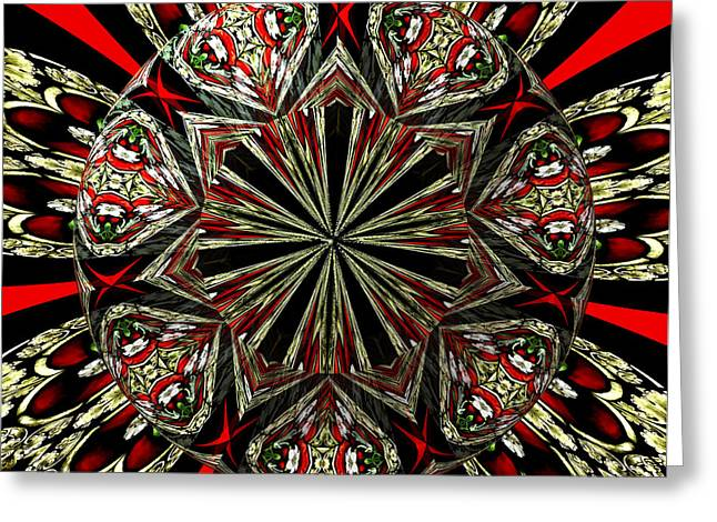 Santuci Greeting Cards - Royal Stained Glass Kaleidoscope Under Glass Greeting Card by Rose Santuci-Sofranko