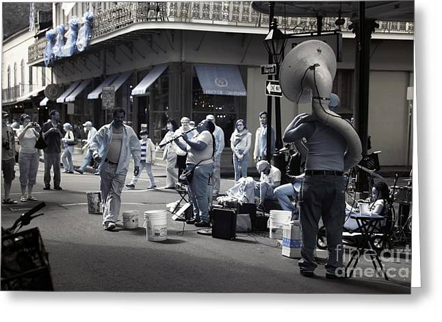 Royal Art Greeting Cards - Royal Street Performing infrared Greeting Card by John Rizzuto