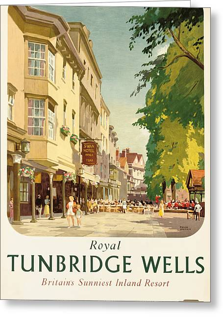 Summer Scene Drawings Greeting Cards - Royal Tunbridge Wells Poster Advertising British Railways Greeting Card by Frank Sherwin