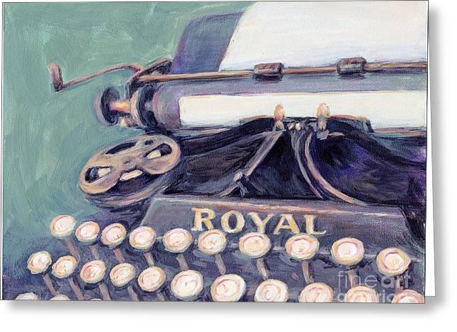 Typewriter Paintings Greeting Cards - Royal Typewriter Greeting Card by Linda Hall