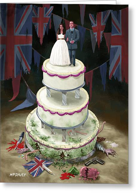 Kate Middleton Greeting Cards - Royal Wedding 2011 cake Greeting Card by Martin Davey