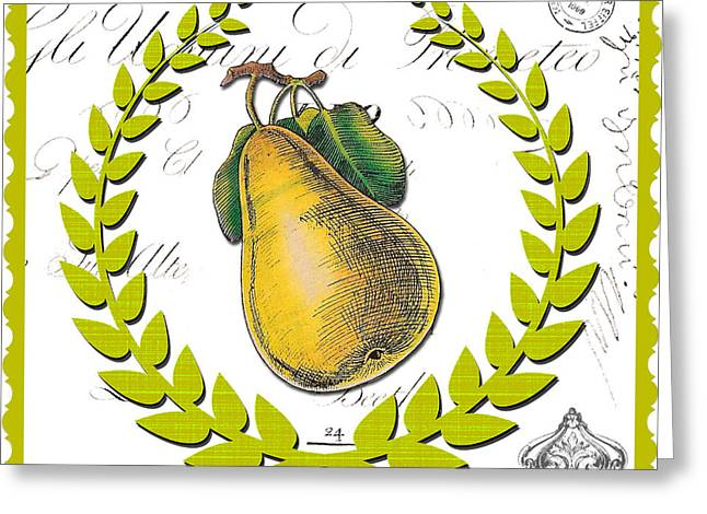 French Pears Greeting Cards - Pen and Ink Pear Modern Kitchen Art Greeting Card by Anahi DeCanio - ArtyZen Studios