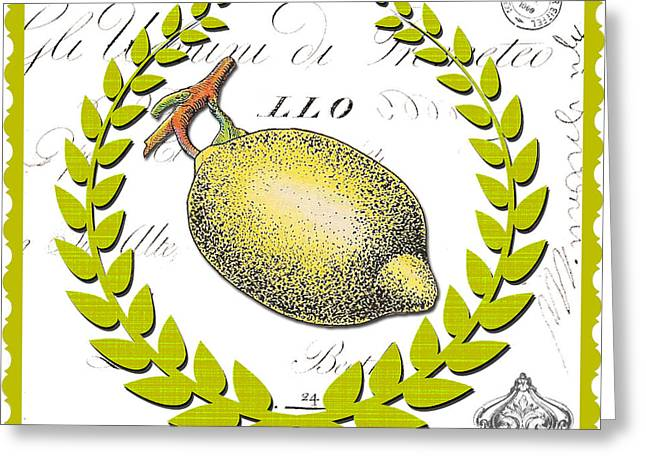 French Pears Greeting Cards - Lemon Kitchen Art on Elegant Background Greeting Card by Anahi DeCanio - ArtyZen Studios
