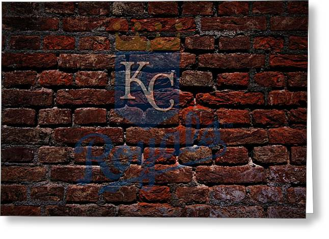 Baseball Art Digital Art Greeting Cards - Royals Baseball Graffiti on Brick  Greeting Card by Movie Poster Prints