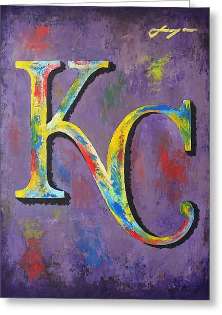 Sport Illustrations Mixed Media Greeting Cards - Kansas City Royals Baseball Greeting Card by Dan Haraga