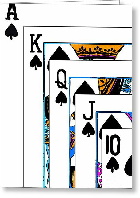 Playing Cards Greeting Cards - Royalty 20140301 Greeting Card by Wingsdomain Art and Photography