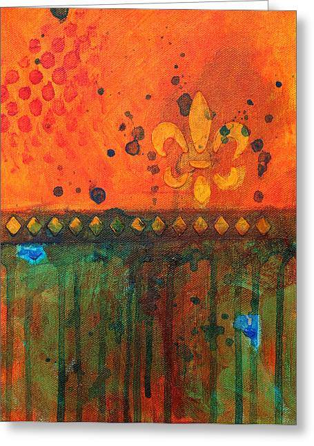 Orange Coat Greeting Cards - Royalty Greeting Card by Nancy Merkle