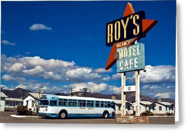 Route 66 Motel Sign Greeting Cards - Roys 2002 Greeting Card by Matthew Bamberg