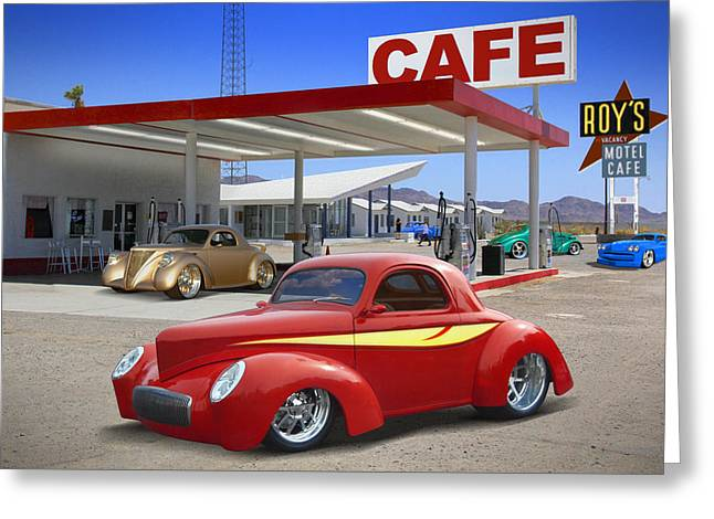Street Rod Greeting Cards - Roys Gas Station 2 Greeting Card by Mike McGlothlen