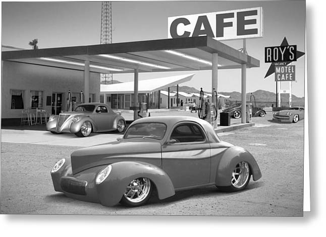 Willys Greeting Cards - Roys Gas Station 2bw Greeting Card by Mike McGlothlen