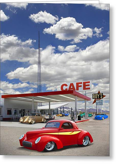 Willys Greeting Cards - Roys Gas Station - Route 66 Greeting Card by Mike McGlothlen