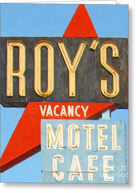Roadside Architecture Greeting Cards - Roys Motel and Cafe . Vacancy Greeting Card by Wingsdomain Art and Photography