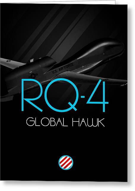 Global Hawk Greeting Cards - Rq-4 Global Hawk Blackout Greeting Card by Reggie Saunders