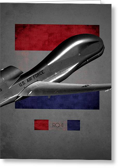 Global Hawk Greeting Cards - Rq-4 Global Hawk Flag Spirit Greeting Card by Reggie Saunders