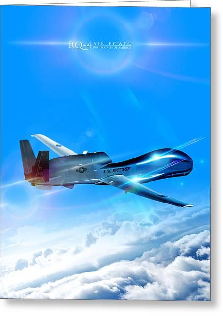 Global Hawk Greeting Cards - RQ-4 Global Hawk Into The Blue  Greeting Card by Reggie Saunders
