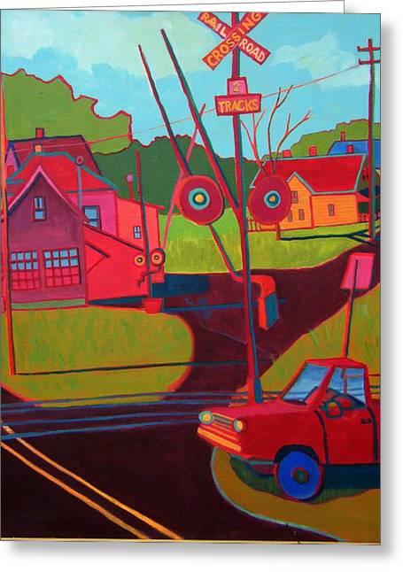 New England Village Greeting Cards - RR Crossing Greeting Card by Debra Bretton Robinson