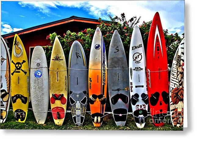 Surfing Boards Greeting Cards - Rt 37 Board Meeting Greeting Card by DJ Florek