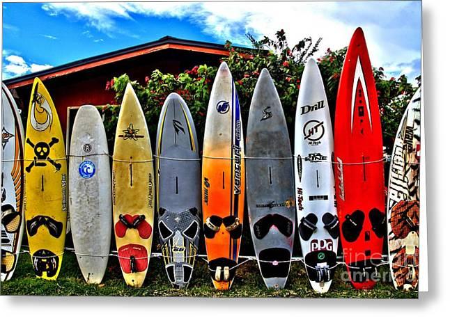 Surfing Board Greeting Cards - Rt 37 Board Meeting Greeting Card by DJ Florek