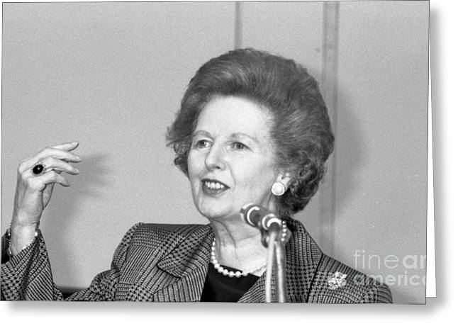 Conservative Greeting Cards - Rt.Hon. Margaret Thatcher Greeting Card by David Fowler