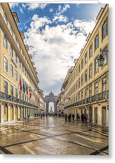 Town Square Greeting Cards - Rua Augusta Greeting Card by Maria Coulson