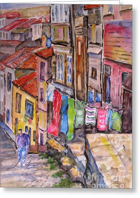 Rua Conticeira Brazil  Greeting Card by Mohamed Hirji