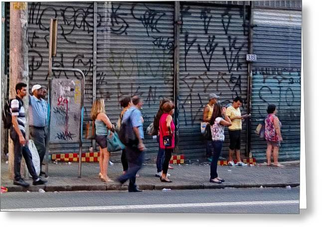 Bus Stop Greeting Cards - Rua Teodoro Sampaio Termino Greeting Card by Julie Niemela